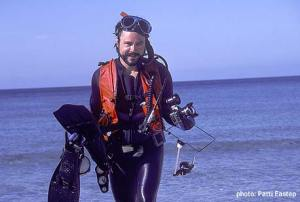 Wayne Photographing underwater for the book The Living Seas