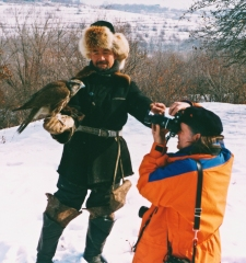Kazakh hunter with Golden Eagles