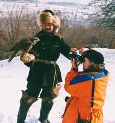 Kazakh hunter with Golden Eagles