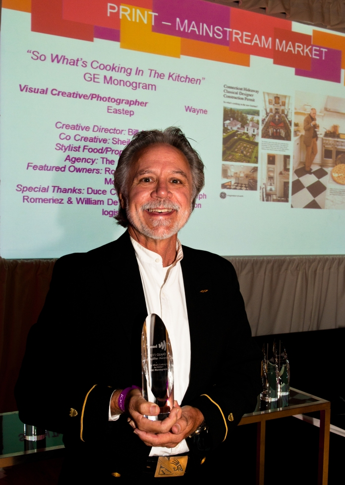 Photographer Wayne Eastep receiving GLAAD Amplifier Award