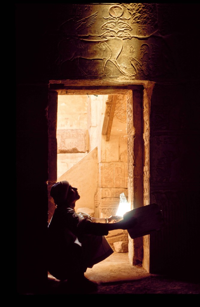 Lighting inside Egyptian tomb