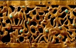This headband of gold from the 2nd century B.C. is inlaid with Turquoise, Amandine and carved wood. Called the Kargalin Diadem, it was found in the grave of a Shaman believed to be Female. It is decorated with animals, and the central portion, which has been lost, is believed to be a tree of life. It was discovered in the mountains at Kargalin at an altitude of 2,500 meters (8,200 feet). Central State Museum, Almaty, Kazakhstan Image from The Soul of Kazakhstan