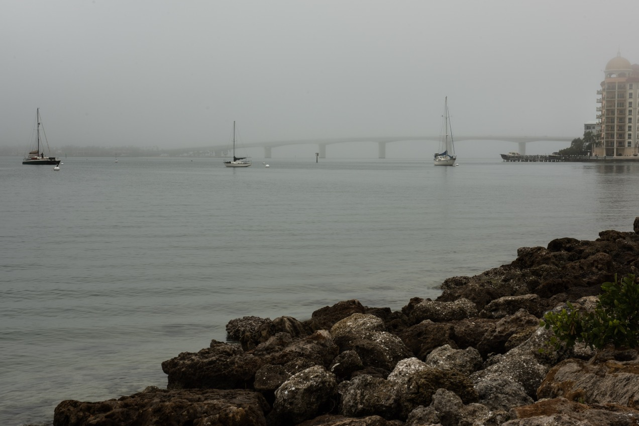 John-Ringling-Causeway-bridge, Sarasota, Florida, Bayfront, Fog, Foggy-Morning, Photograph, Picture,